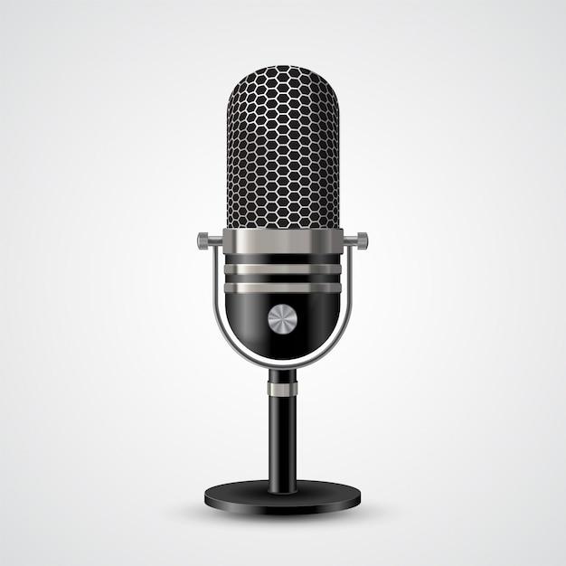 Microphone sur blanc Vecteur Premium