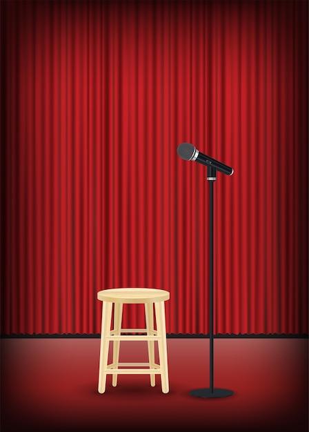 Microphone Avec Chaise Ronde Sur Scène Vecteur Premium