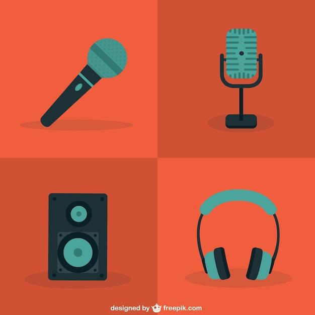 Microphone De Couleur Et Les Icônes Audio Vecteur Premium