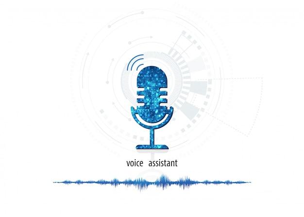 Microphone Icône Abstraite De Vecteur Sur Onde Sonore Numérique Sur Fond De Couleur Blanche Vecteur Premium