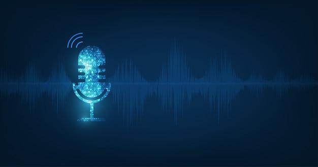 Microphone Icône Abstraite De Vecteur Sur Onde Sonore Numérique Sur Fond De Couleur Bleu Foncé Vecteur Premium
