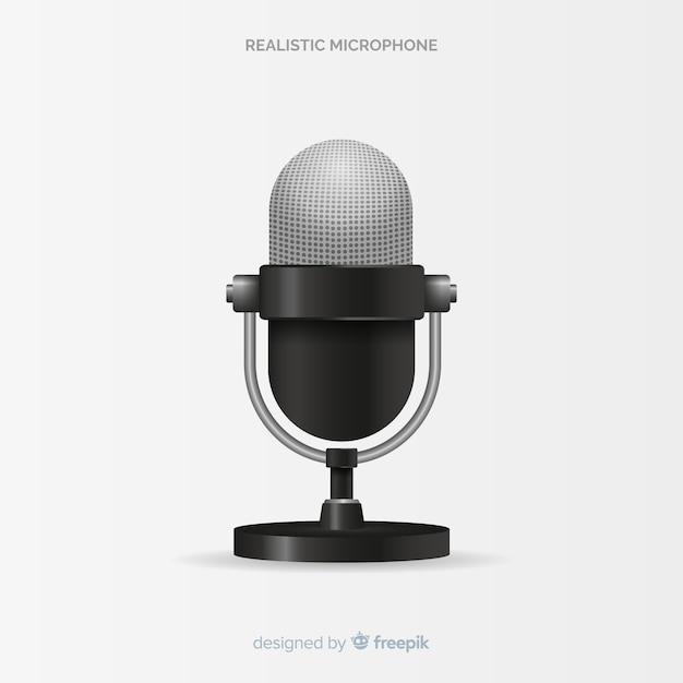 Microphone Moderne Réaliste Vecteur gratuit