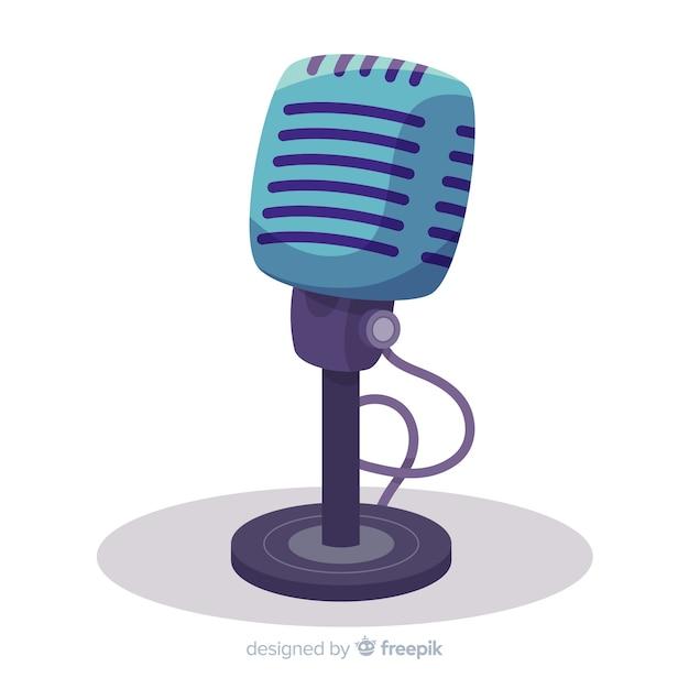Microphone Rétro Dessiné à La Main Vecteur Premium