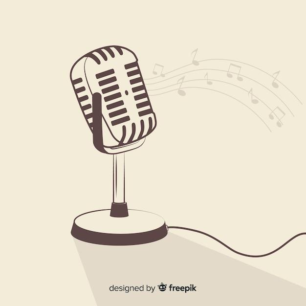 Microphone rétro dessiné à la main Vecteur gratuit
