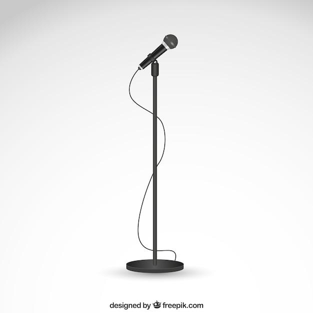 Microphone Sur Un Stand Vecteur Premium