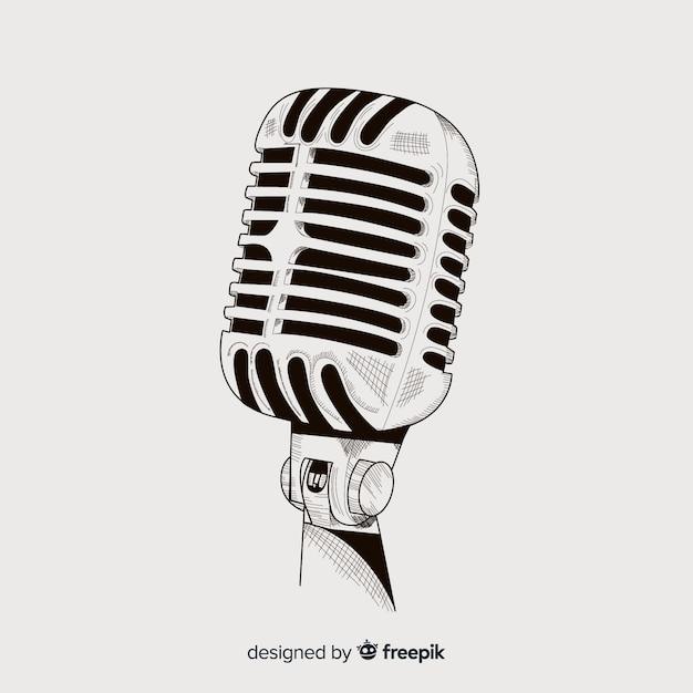 Microphone vintage dessiné à la main réaliste Vecteur gratuit