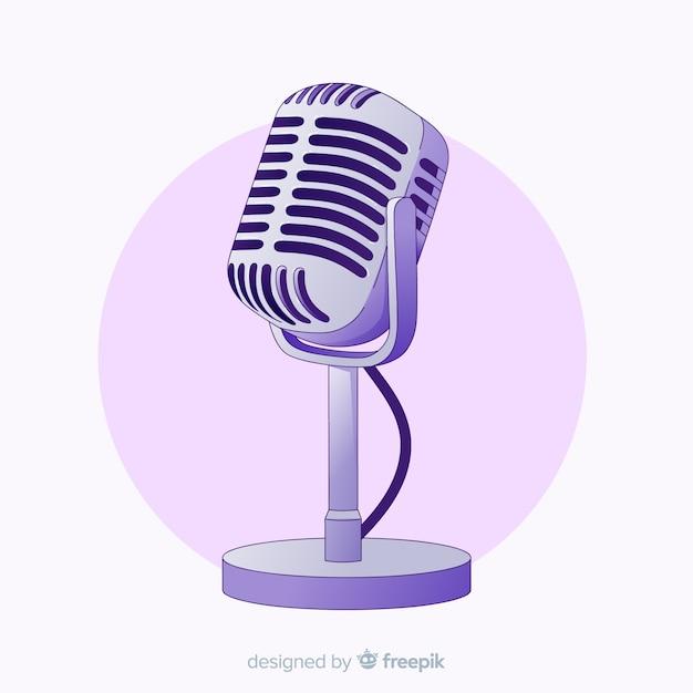 Microphone Vintage Dessiné à La Main Vecteur Premium