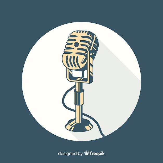 Microphone vintage dessiné à la main Vecteur gratuit