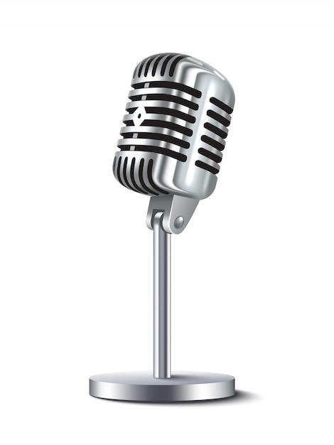 Microphone Vintage Isolé Vecteur gratuit
