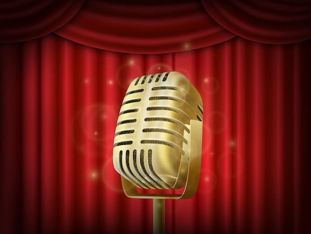 Microphone vintage en métal Vecteur Premium