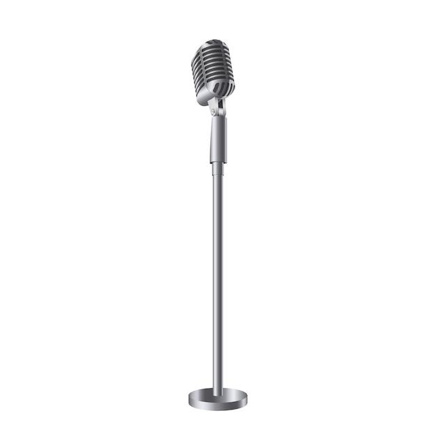 Microphones de musique de concert vintage rétro sur stand. Vecteur Premium