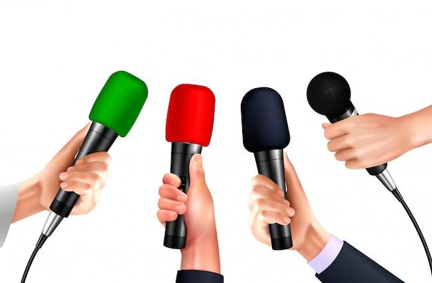 Microphones Professionnels Dans Des Images Réalistes De Mains Humaines Sur Fond Blanc Avec Différents Modèles De Micros Modernes Vecteur gratuit