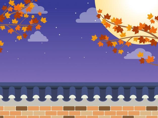 Mid autumn festival (chuseok) Vecteur Premium