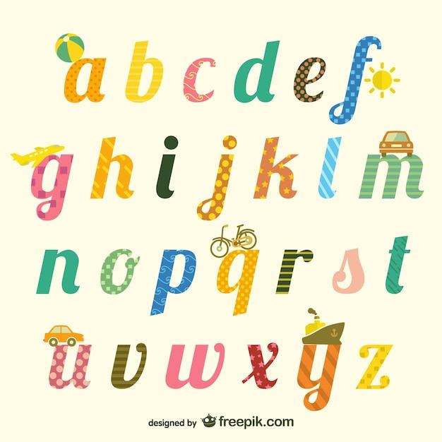 Mignon Alphabet Typographie Vecteur gratuit