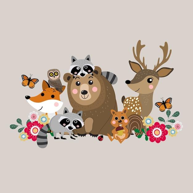 Mignon animal de la forêt, vecteur de la faune. Vecteur Premium