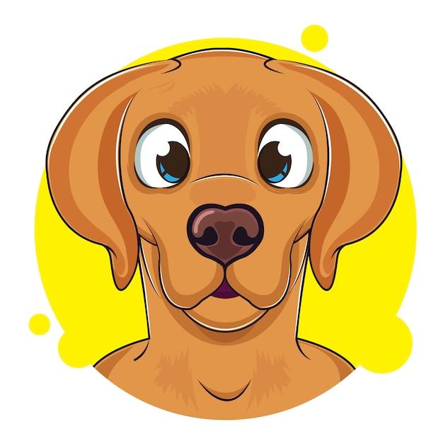 Mignon avatar de chien brun Vecteur Premium