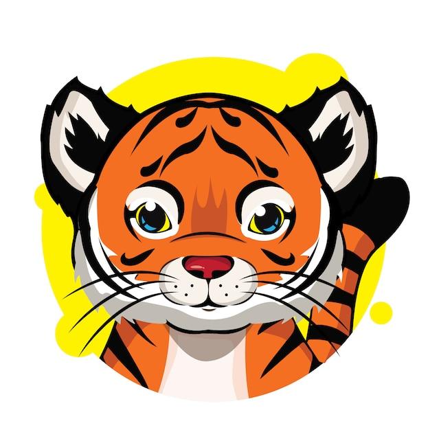 Mignon avatar de tigre orange Vecteur Premium