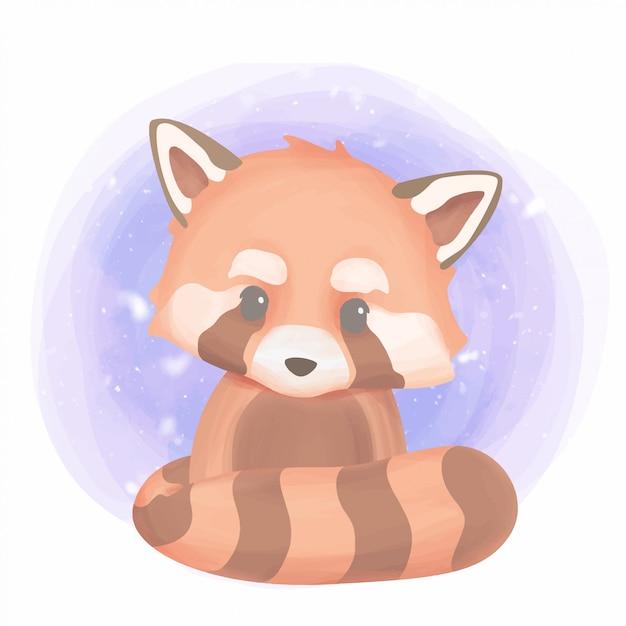 Mignon bébé animal panda rouge Vecteur Premium