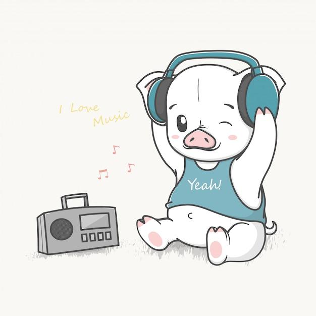 Mignon bébé cochon écouter de la musique Vecteur Premium