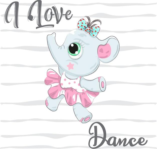 Mignon bébé éléphant ballerine caricature dessinée à la main Vecteur Premium