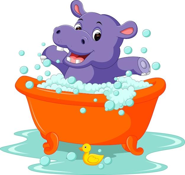 Mignon bébé hippopotame Vecteur Premium