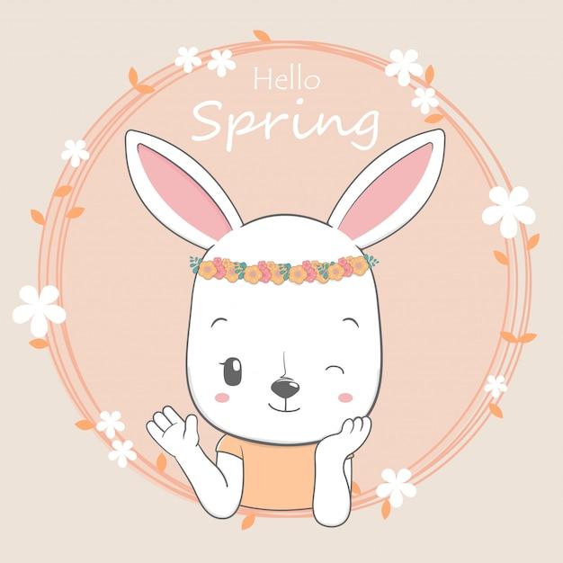 Mignon bébé lapin fille bonjour printemps bande dessinée dessinée à la main Vecteur Premium