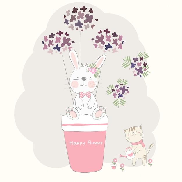Le Mignon Bébé Lapin Et Fleur Avec Un Chat Vecteur Premium