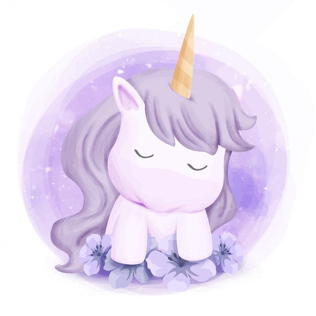 Mignon bébé licorne sentir somnolent Vecteur Premium