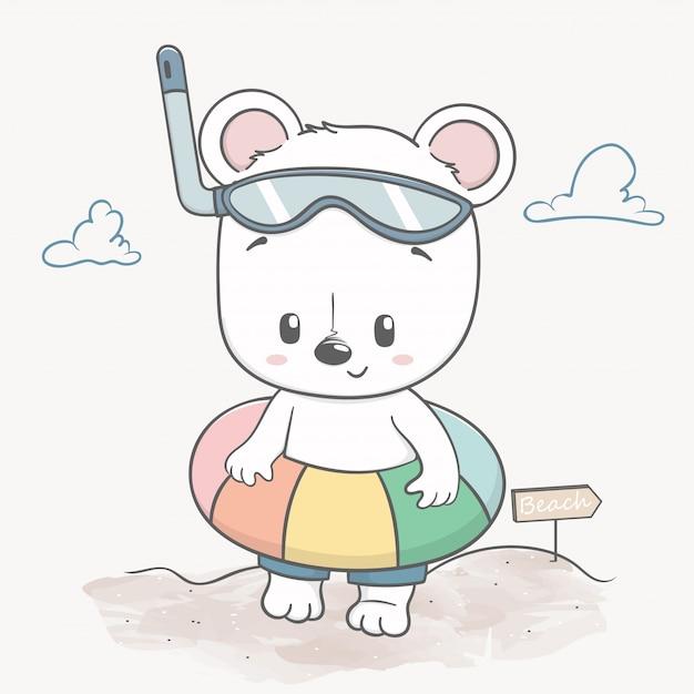 Mignon bébé ours sur la plage bonjour l'été Vecteur Premium