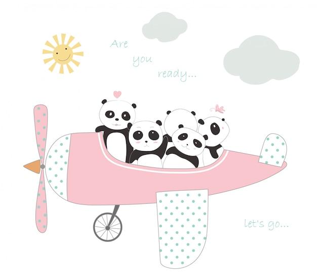 Le mignon bébé panda avec l'avion pour voyager en vacances Vecteur Premium