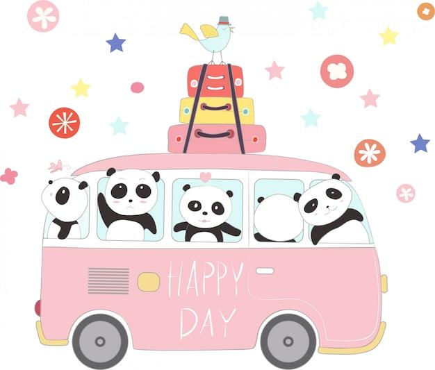 Le mignon bébé panda pour voyager en vacances Vecteur Premium