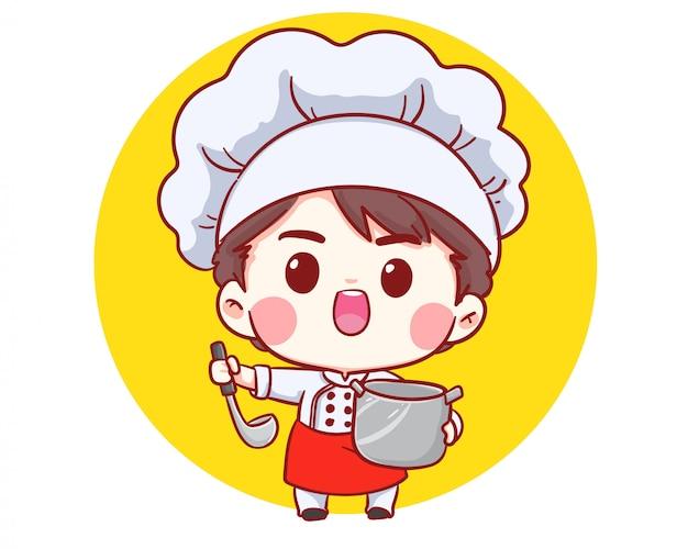 Mignon Boulanger Chef Cuisinier Cuisine Souriant Dessin Animé Art Illustration Logo. Vecteur Premium