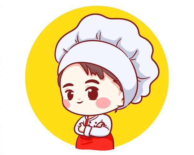 Mignon Boulanger Chef Garçon Bras Croisés Souriant Dessin Animé Art Illustration Logo. Vecteur Premium