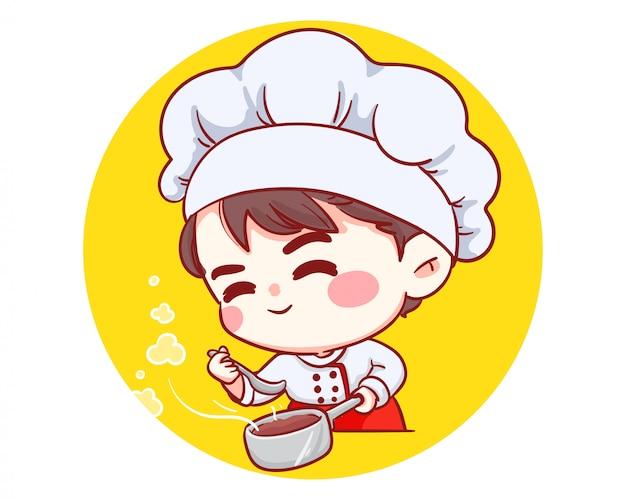 Mignon Boulanger Chef Garçon Goût Souriant Dessin Animé Art Illustration Logo. Vecteur Premium