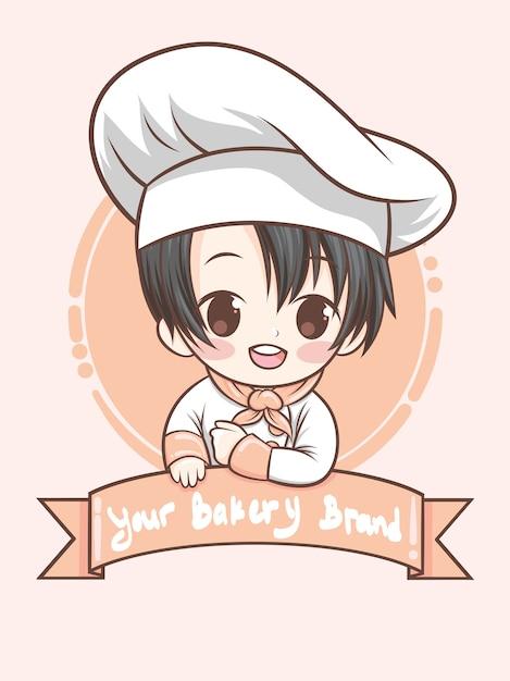 Mignon, Boulangerie, Chef, Garçon, -, Dessin Animé, Art, Illustration (mascotte, Logo) Vecteur Premium