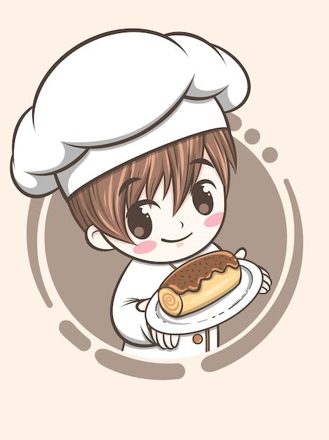 Mignon, Boulangerie, Chef, Garçon, Tenue, Gâteau Chocolat, -, Dessin Animé, Caractère, Et, Logo, Illustration Vecteur Premium