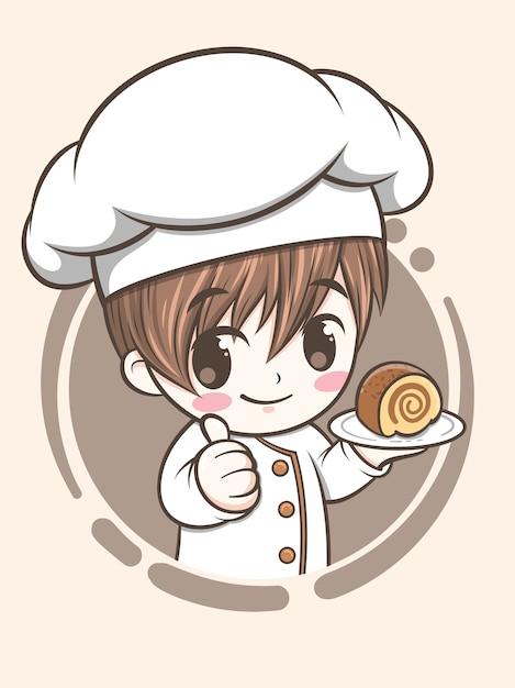 Mignon, Boulangerie, Chef, Garçon, Tenue, A, Gâteau - Dessin Animé, Caractère, Et, Logo, Illustration Vecteur Premium