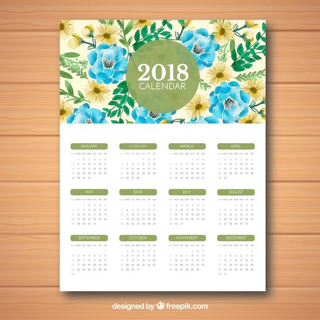 Mignon Calendrier 2018 Vecteur gratuit