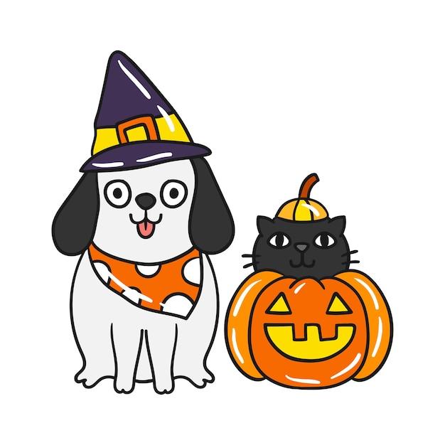 Mignon chat de halloween et vecteur de chien. Vecteur Premium
