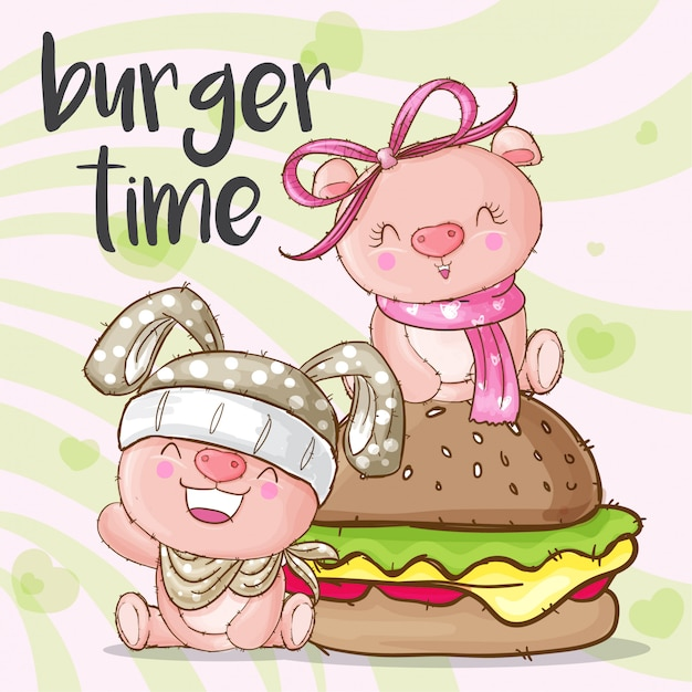 Mignon Cochon Animal Et Hamburger Vecteur Premium