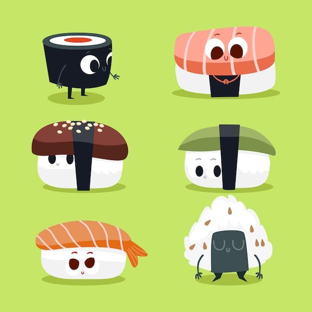 Mignon collection de caractères sushi Vecteur gratuit