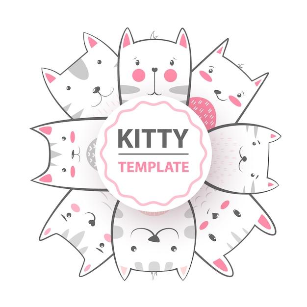 Mignon, cool, joli, drôle, fou, beau chat, minou Vecteur Premium
