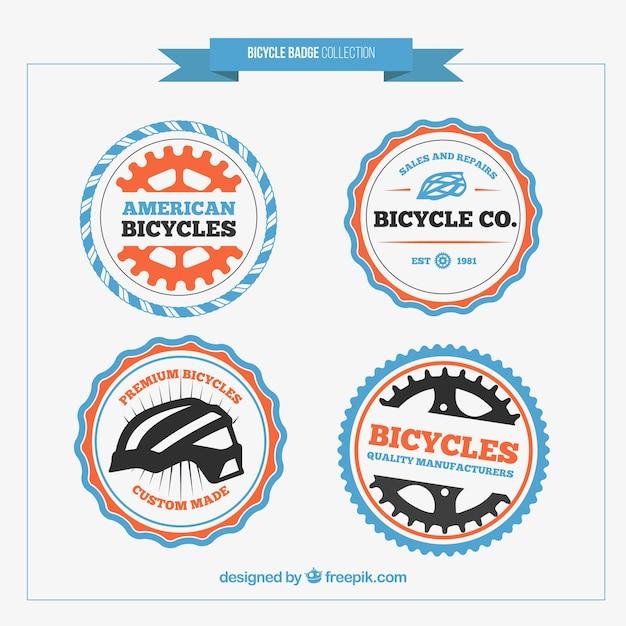 Mignon de couleur badges de vélo arrondis Vecteur gratuit