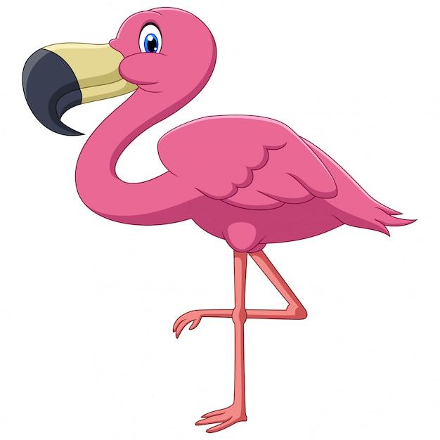 Un Mignon Dessin Animé Oiseau Flamant Rose Vecteur Premium