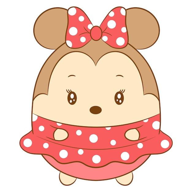 Mignon Dessin De Minnie Mouse Vecteur Premium