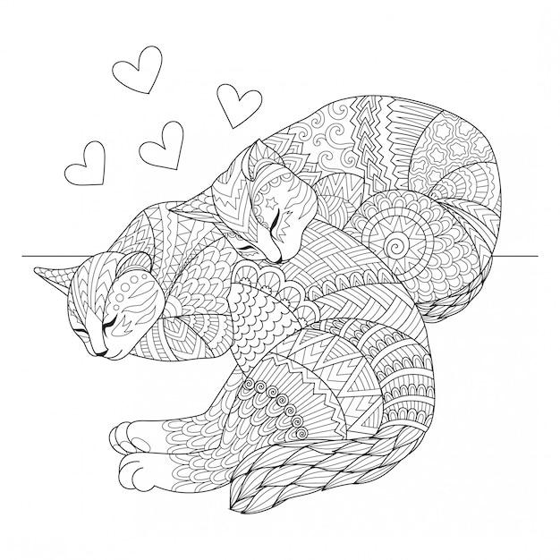 Mignon deux chats dormant Vecteur Premium