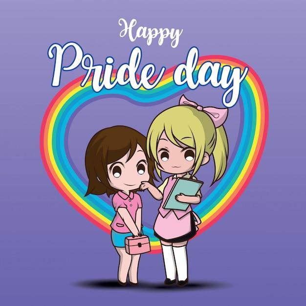 Mignon deux personnage de bande dessinée lesbienne. jour de fierté heureuse. Vecteur Premium