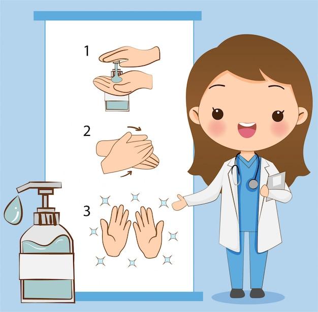 Le Mignon Docteur Explique Comment Se Laver / Nettoyer Les Mains Avec Du Gel D'alcool Pour Prévenir Le Virus Vecteur Premium
