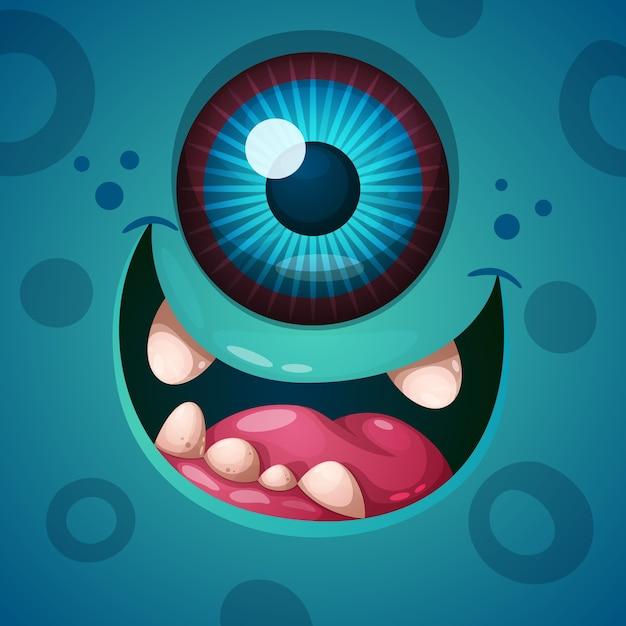 Mignon, drôle, personnage de monstre fou. illustration de helloween Vecteur Premium