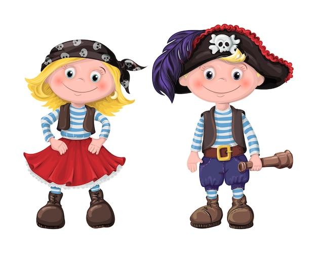 Mignon ensemble de pirates d'enfants Vecteur Premium